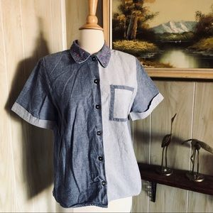 Vintage Two Tone Button Up Top